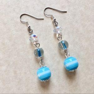 Jewelry - 4/$25 Blue Earrings Dangle Beaaded Silver Tone